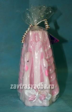 Свеча мигающая розовые лебеди 17 см